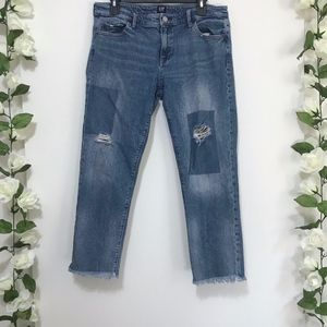 Gap Distressed Cropped Girlfriend Jeans 30